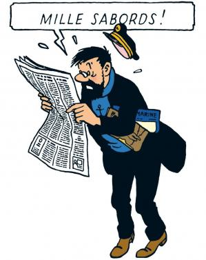 Capitaine haddock lit son journal