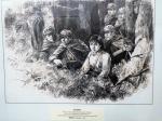 """GU Bingxin 1955 oeuvre au crayon """"Notes de reconnaissance en traversant le fleuve"""""""