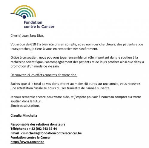 Don de la seconde opération caritative à la fondation contre le cancer de 618 001