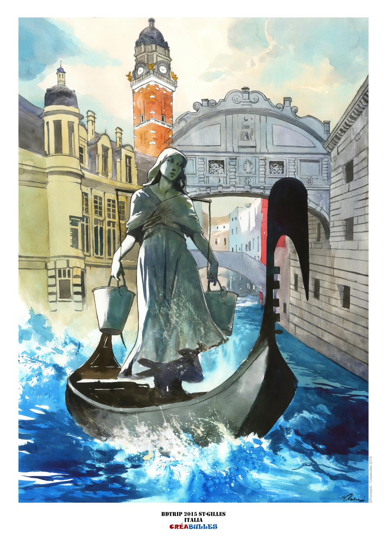 Ex-Libris de l'affiche du BDTrip spécial Italie par Vincent Pompetti